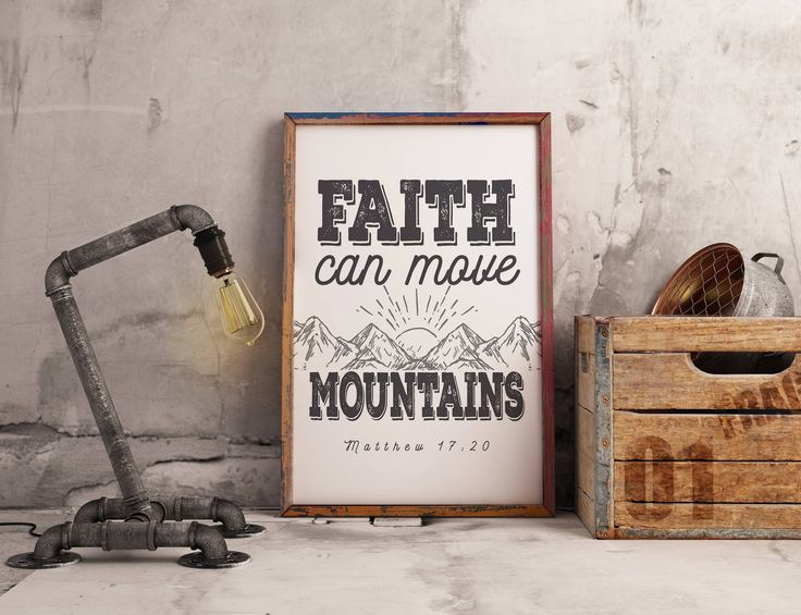 Faith Can Move Mountains - Matthew 17 v 20 - Bible Verse Printable, Scripture Quote, Christian Wall Art - Instant Download by 3SixteenDesign on Etsy