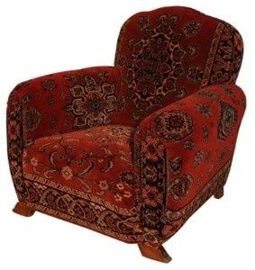 French Club Chair Re-upholstered in Antique Dutch...