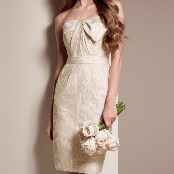 Double-Weave Floral Matalasse Dress With Bow Short Dress