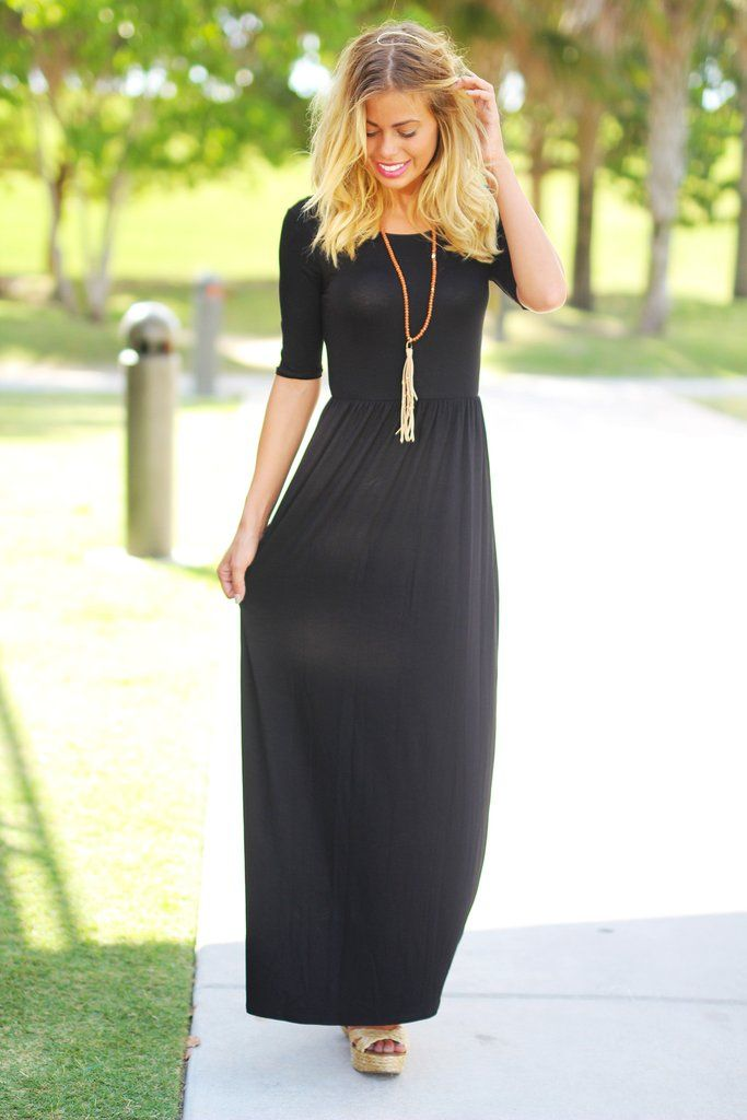 BACK IN BLACK!!! You're going to love our classic Black Maxi Dress now with 3/4…