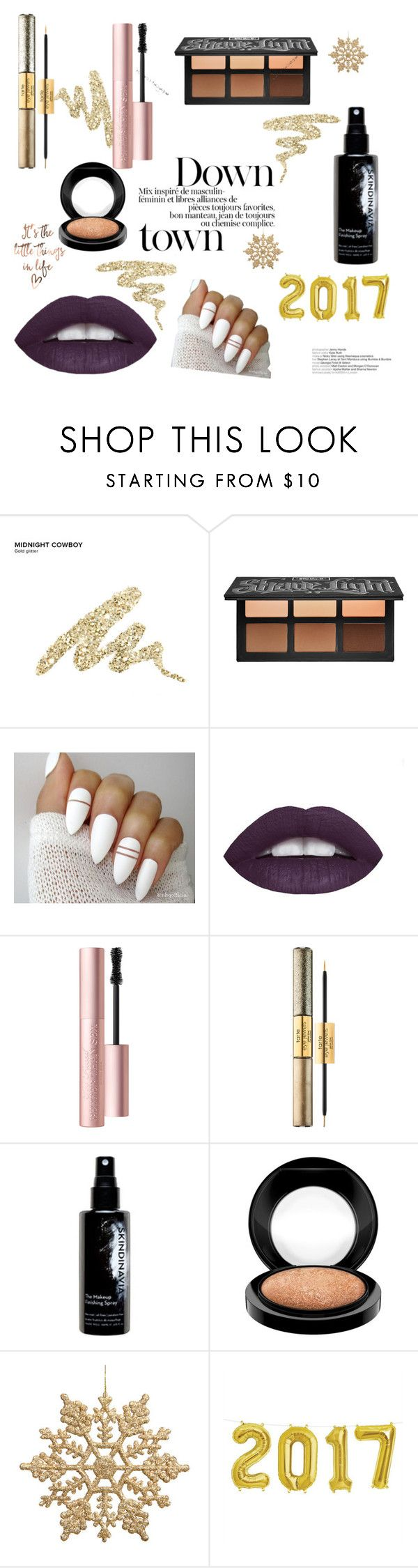 """Gold Deposit '17"" by ronisha-lenora ❤ liked on Polyvore featuring beauty, Urban Decay, Kat Von D, Too Faced Cosmetics, tarte, Skindinavia and MAC Cosmetics"