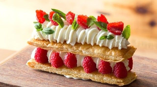 French Inspiration by Bertrand Lefebvre Raspberry millefeuilles, white chocolate and chantilly Cream #dessert #dessertideas #raspberry #raspberriesandcream #pastry