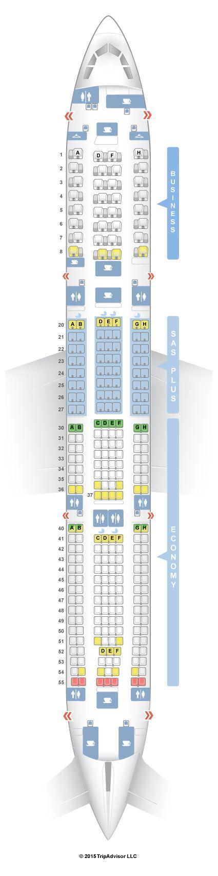 SeatGuru Seat Map SAS Airbus A330-300 (333) V2