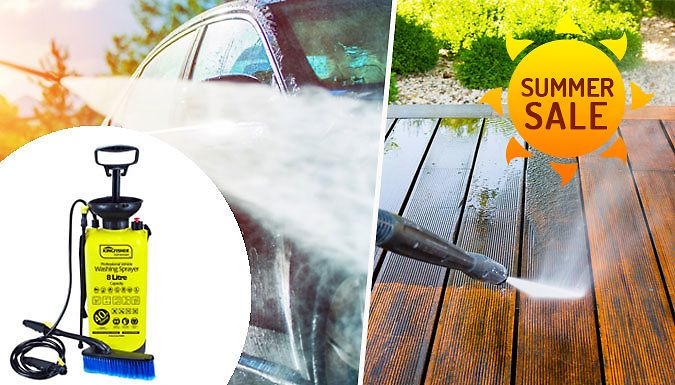 Buy 8L High Pressure Washer & Sprayer - With Brush Attachment UK deal for just: £14.99 Keep your car squeaky clean with the Professional 8L Portable High-Pressure Washer      Ideal for cleaning cars, caravans, boats, garden patios or windows      No electricity required simply top up with water      Includes 2.5m pressure hose for a direct jet or fine mist and brush       Boasts an 8 litre...