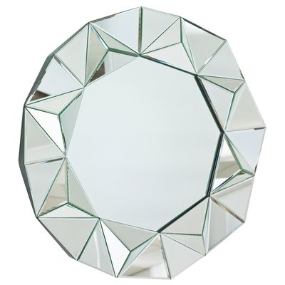 The rim of this mirror is beautifully faceted to create a feature for your wall.