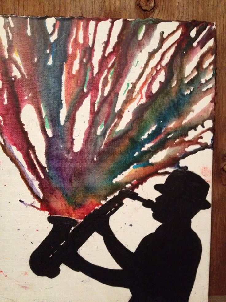 #Saxophone melted crayon art - This would be super cool, made extra big for Wyatt's bedroom wall, if he continues the sax into jr high/high school!