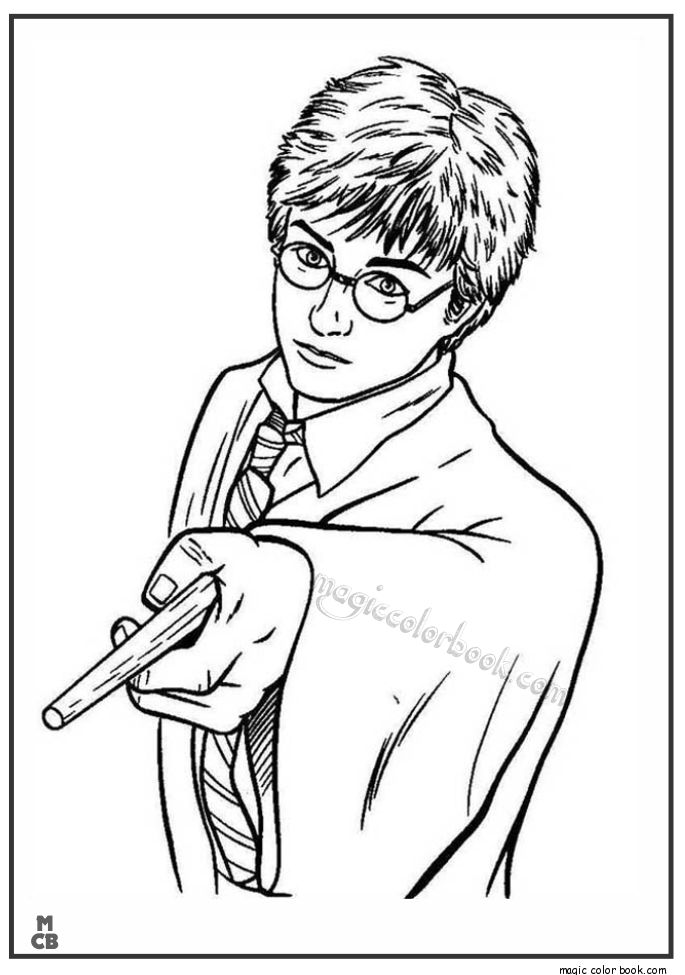 Harry potter learns magic power coloring pages