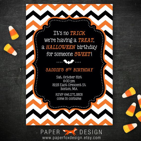 halloween birthday party invitation diy printable chevron chic - Homemade Halloween Party Invitations