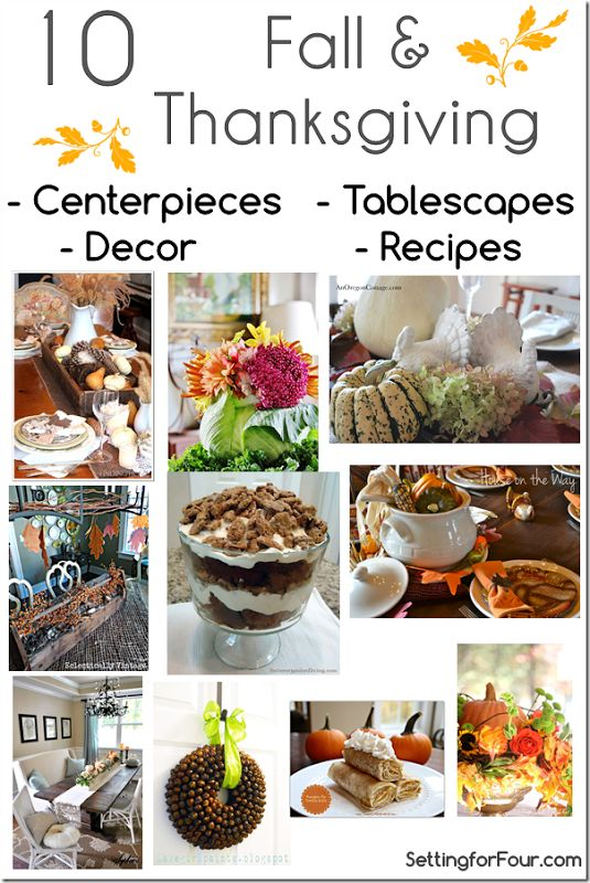 10 Amazing Fall and Thanksgiving Tablescapes, Decor, Recipes and Centerpieces Setting for Four