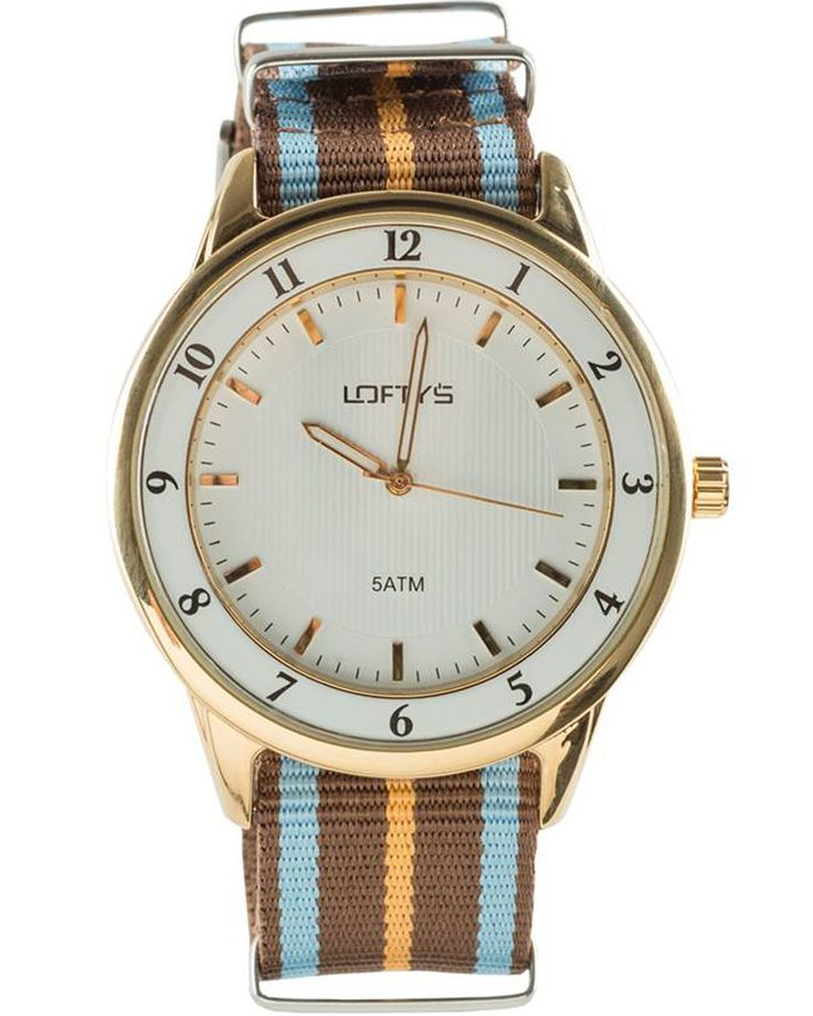 Watch with Multicolor Fabric Strap (Blue - Brown - Orange) Y 3404BO - https://www.loftyswatches.com/shop/watch-strap-blue-brown-orange-y-3404bo/