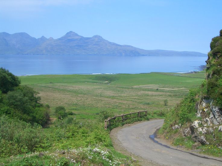 Great road for cycling on the Isle of Eigg, looking towards the Isle of Rum