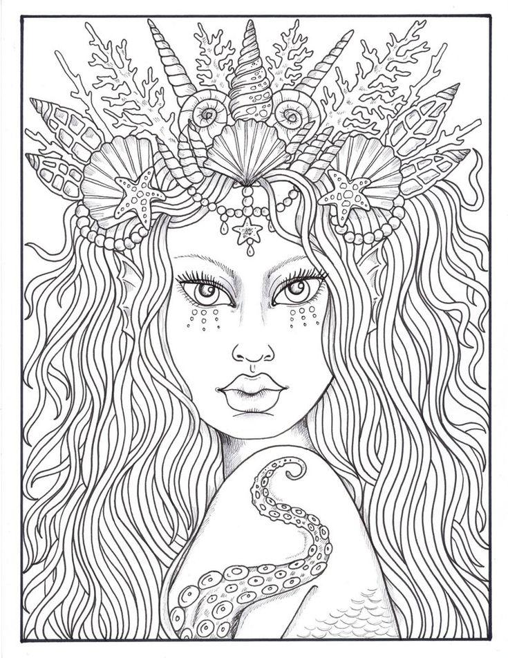Mermaid Hair Queens of the Sea Digital Coloring mermaid ...