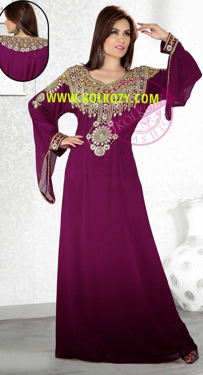 Tyrian Purple Popular Bell Sleeve Slim Fit Kaftan