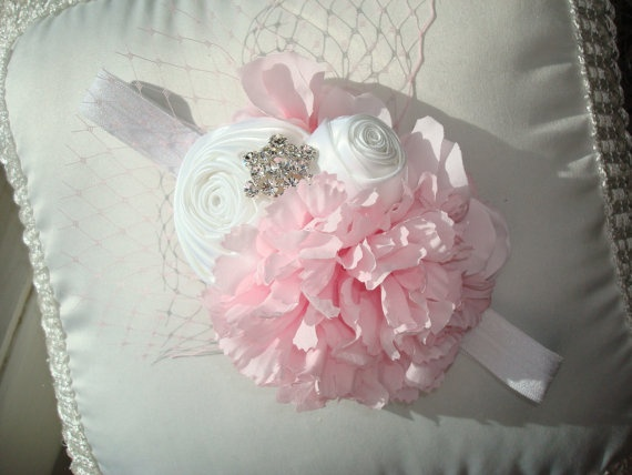 Pink and White Baby FlowerHeadband, Flower Headbands, Baby Headband, Photo Prop, Flower Girl, Special Occasion. $22.95, via Etsy.