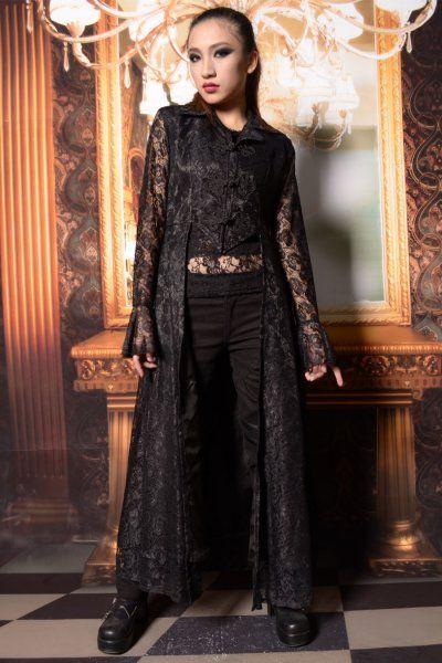 Abbie Black Lace Gothic Coat by Pentagramme
