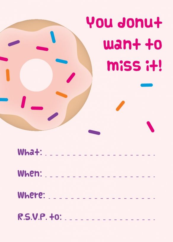 Donut Party - Free Printable Invitations