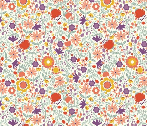 Wild Flowers fabric by oliveandruby on Spoonflower - custom fabric