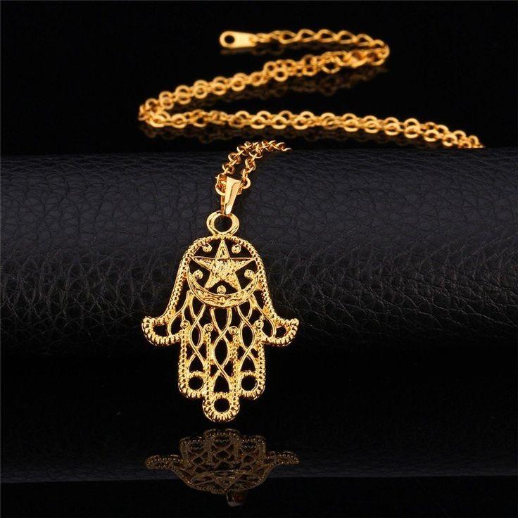 Fatimas Hand Anhänger Gelb Gold vergoldet  #fatimashand #handfatimas #hamsahand #handderfatima