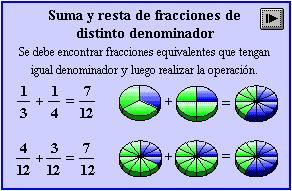 resta de fracciones con diferente denominador ejemplos