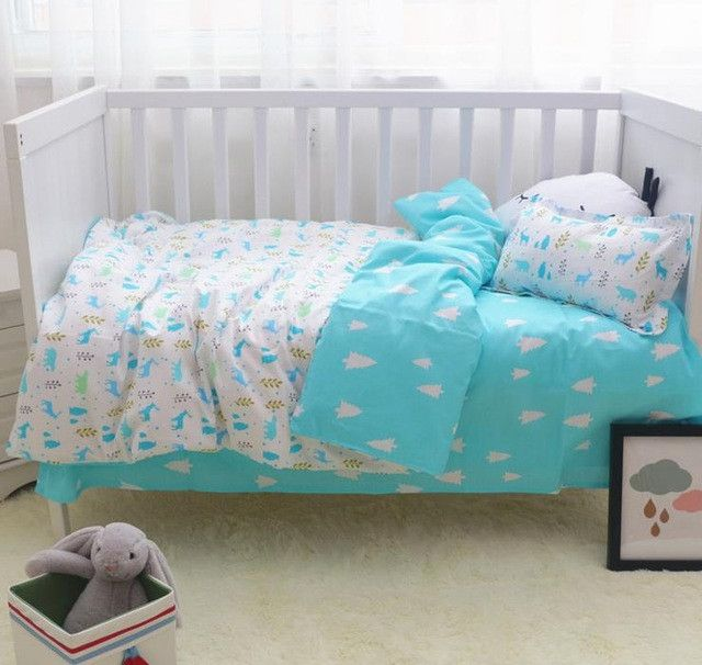 3Pcs/ Sets Cotton Baby Bedding Sets Custom Made Cartoon Printing Baby Bed  Cot Sheet No Stimulation Comfortable Baby Bedding | Products | Pinterest |  Baby ...