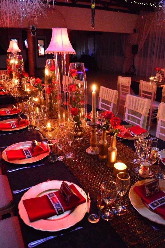 Amazing 21ST Birthday party! Red and Gold is gorgeous!!! www.casablancamanor.co.za