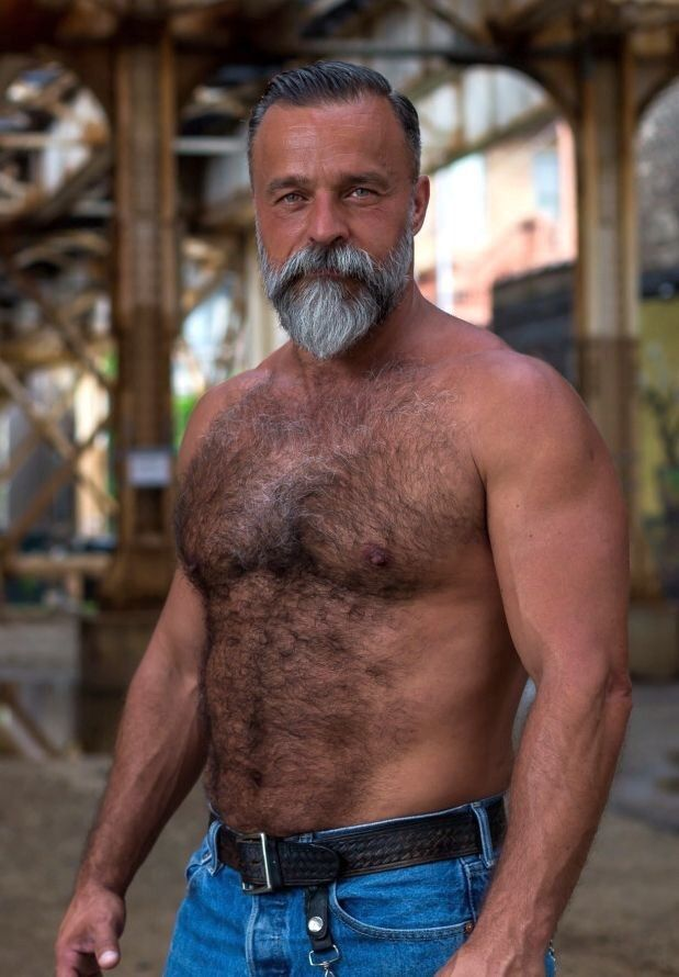 hairy chest gay men Mature