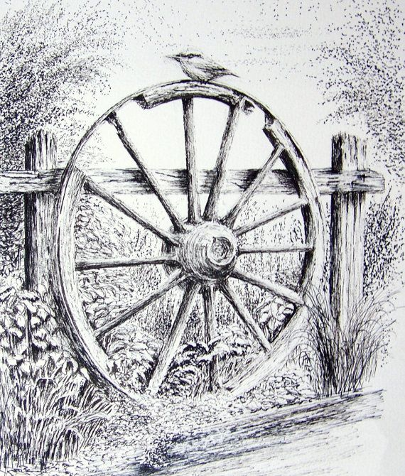 Old Wagon Wheel Graphite Pencil Drawing. Print by StudioFive2