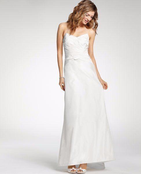 The 25 best halter wedding gowns ideas on pinterest halter 595 ann taylor ivory silk taffeta ruched halter wedding gown dress 8 new a680 junglespirit Images