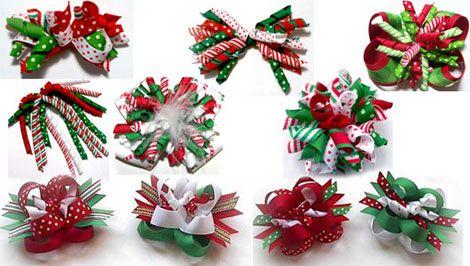 Fiocchetti natalizi per i capelli di piccole principesse. Speciale Natale - www.Sottocoperta.net