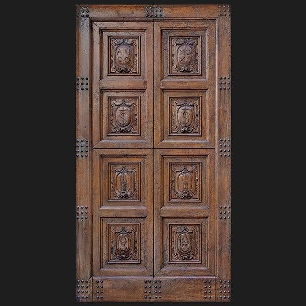 Old Italian Carved Timber Entrance Door Textures