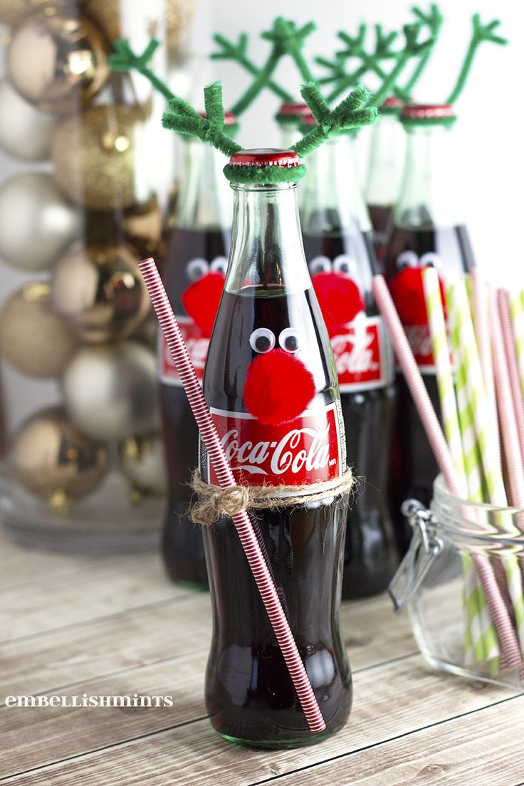 Cherry Coke Poke Cake and Coke Bottle Reindeer are quick, easy and make the perfect Holiday Gifts for co-workers, friends and neighbors! Find out how to make them, and coordinating desserts at Embellishmints.com #ShareHolidayJoy #ad