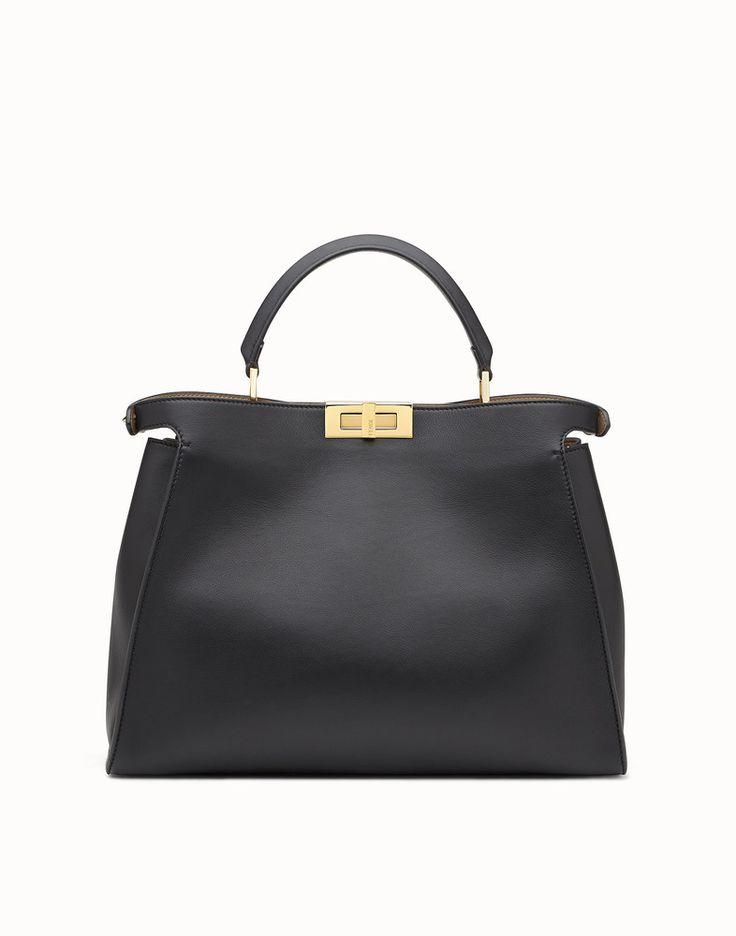 FENDI PEEKABOO ESSENTIAL - Black and beige leather handbag - view 3 detail