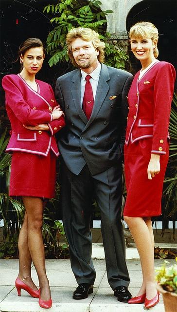Elizabeth Emanuel designed-uniforms - Virgin Atlantic 1980's. Mr. Branson is the one with the beard.