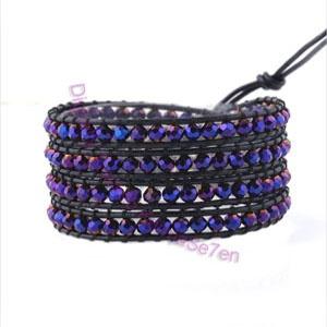 Purple Glimmer Leather Wrap Bracelet. Buy yours today at karmase7en.com
