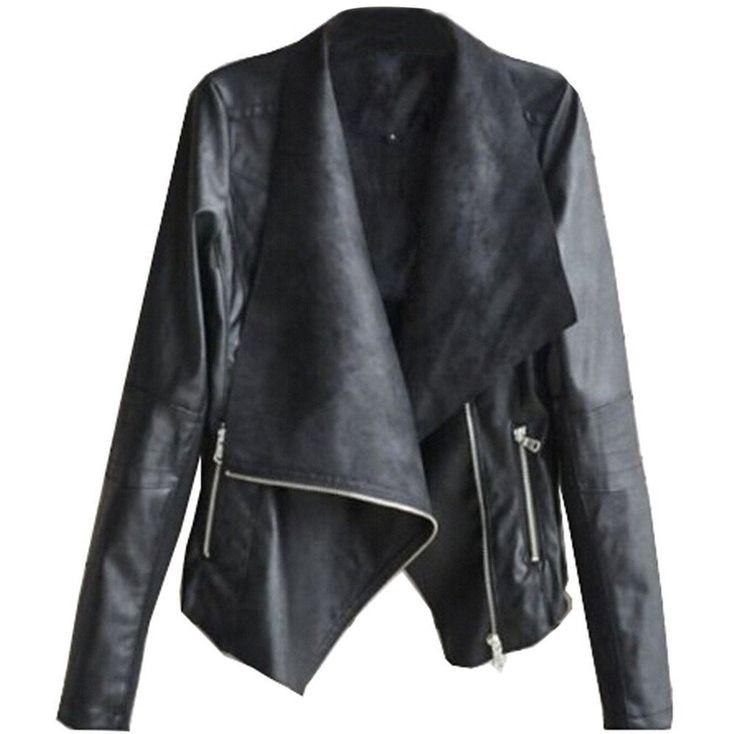 SODIAL (R) Moda Vintage Donna Cappotto Giacca Moto Snello In Pelle PU morbido Con Cerniera Nero S: Amazon.it: Casa e cucina