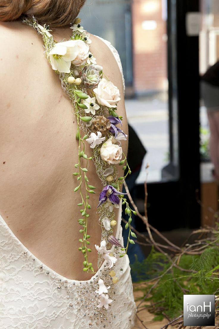 """The back of a beautiful wired floral necklace by Arcade Flowers of Ringwood at their """"Floral explosion"""" held at Framptons in Ringwood. Copyright: ianH photography www.ianH.co.uk"""