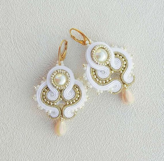 NEW Bridal Jewelry Soutache Earrings white gold by AdityaDesign