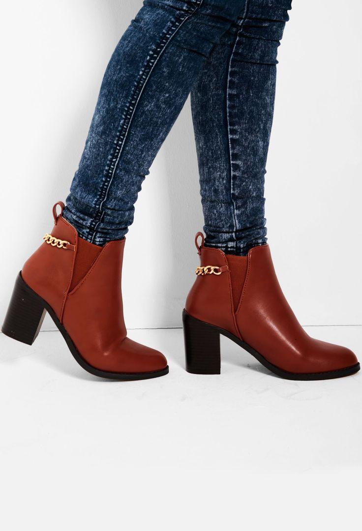 Main Tan Chain Detail Heel Boots