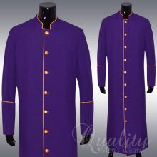 Clergy Robe Solid Purple Gold Piping Cassock Full Length...