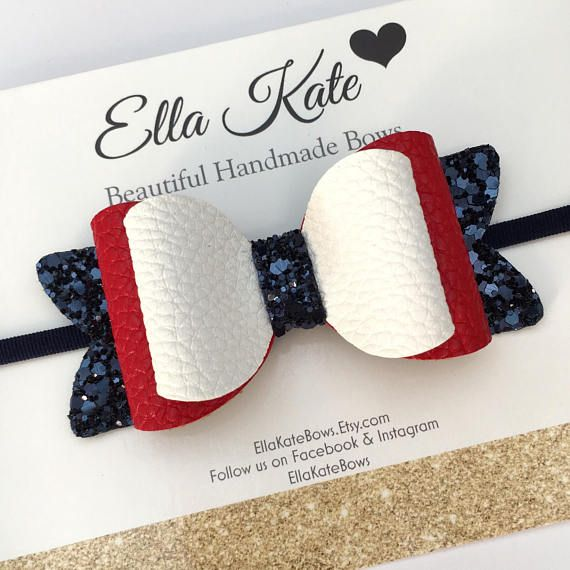 Red hair bow red white and blue faux leather bow nylon
