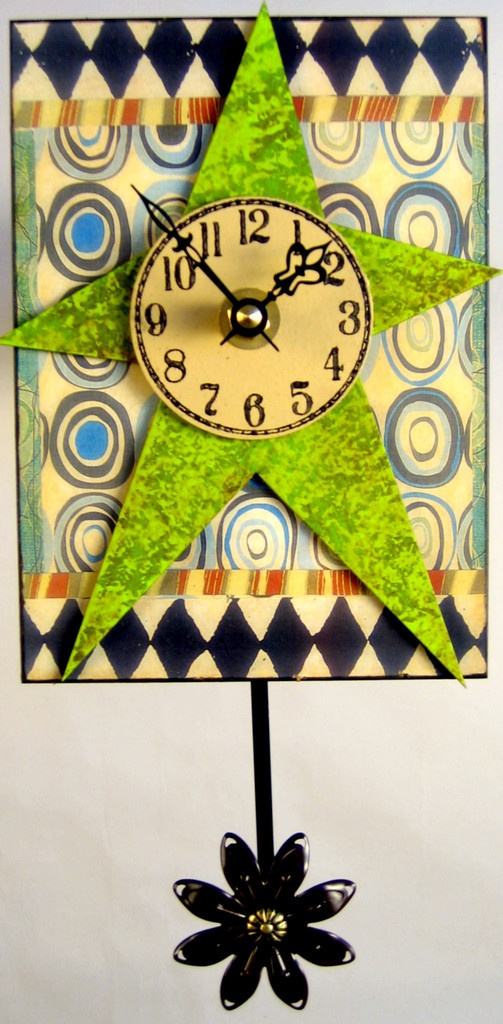 Lime Green Art Deco Clock | Wooden Clocks | Pinterest