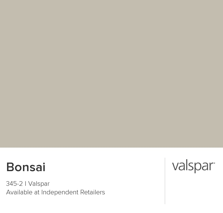 Bonsai from Valspar (Lowes) pretty beige-gray that changes to shades of green and blue throughout the day...
