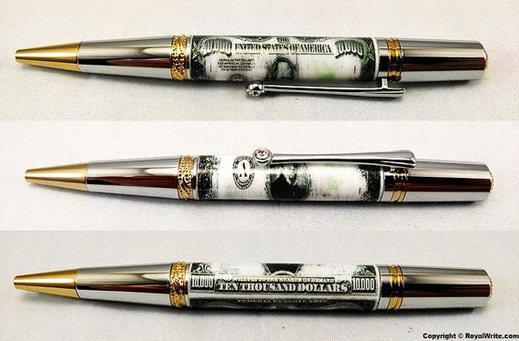 Luxury Ballpoint Pen  10000 Bill  Executive Pen by RoyalWrite