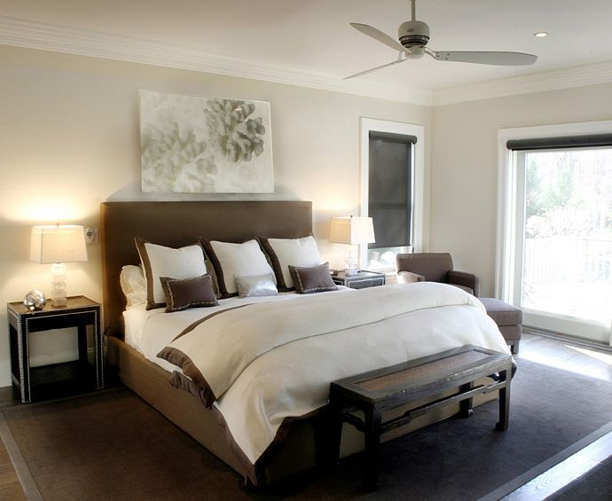 Perfect Elsa Soyars: Elegant Transitional Brown And White Bedroom Design With Brown  Headboard Bed, Black . Amazing Design