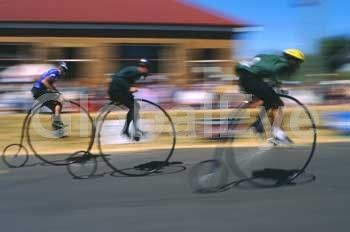 Penny Farthing bike racing. Penny farthing bike racing, Evandale, Tasmania, Australia. Stock Photo By Rob Walls