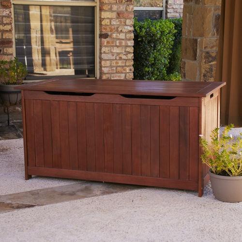 eucalyptus wood storage box bench for pool toys patio