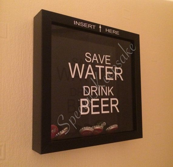 Save water drink beer drop box frame display collection for Beer bottle picture frame
