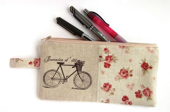 Large Pencil Case, Zip Pouch, Shabby Chic Roses, Vintage Bicycle