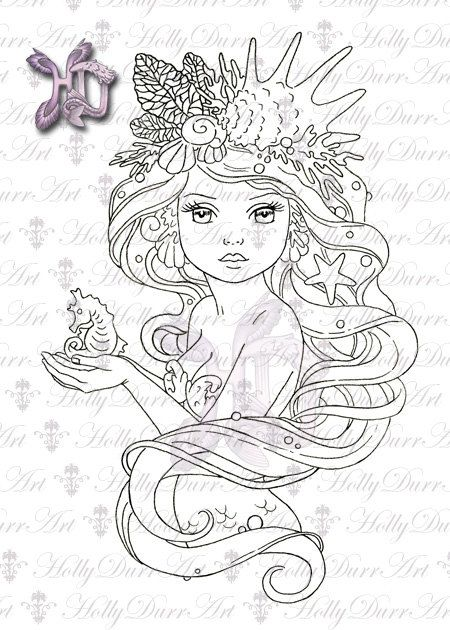 Digital Mermaid Stamp - 50 cents off - digital stamp Card Making Printable Coloring Page Digi line clip art Holly Durr