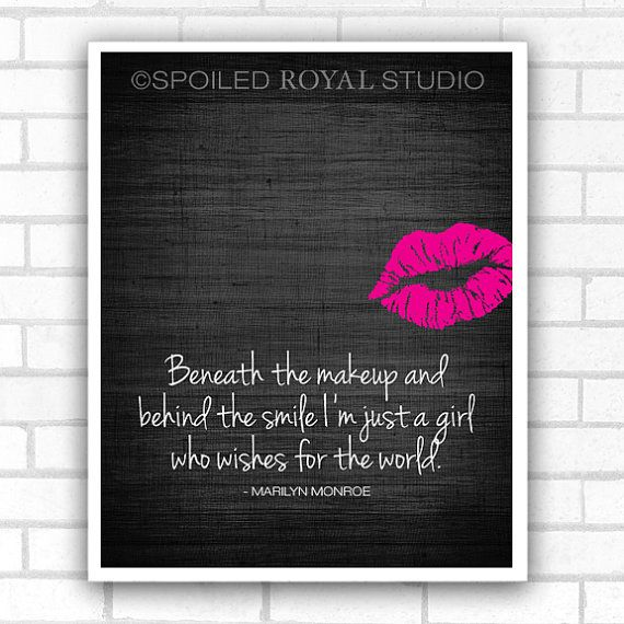 Marilyn Monroe Quote - Beneath the Makeup Art Poster - Black Textured Background with Pink Lips - 8x10 Print on Etsy, $15.00